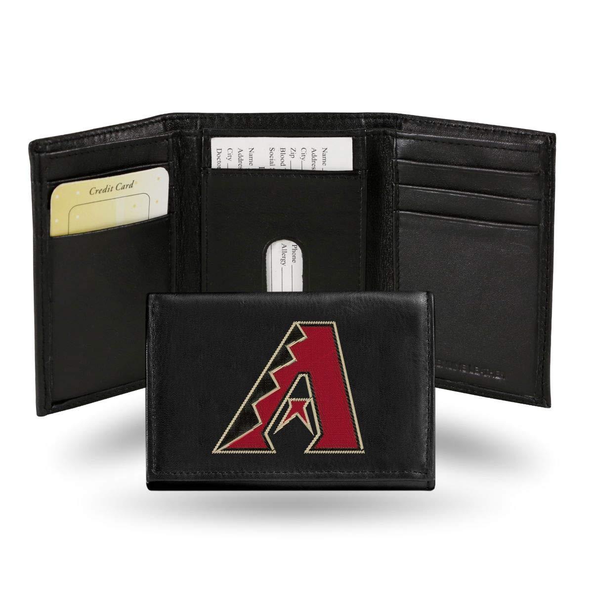 MLB Arizona Diamondbacks Embroidered Genuine Cowhide Leather Trifold Wallet