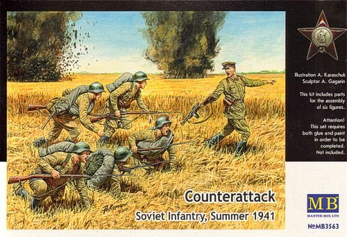 Master Box Counterattack Soviet Infantry Summer 1941 (6) Figure Model Building Kits (1:35 Scale) (1 35 Masterbox)