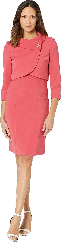 b351467eaf6c Amazon.com: Tahari by ASL Women's Jacket Dress with Envelope Collar Coral  16: Clothing
