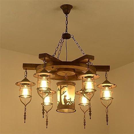 Atmko®Iluminación colgante Lámparas de araña Araña de madera ...