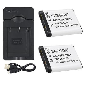 ENEGON 2 Baterías y Cargador para Nikon EN-EL19 and Nikon Coolpix S32 S33 S100 S2800 S3100 S3200 S3300 S3500 S3600 S4100 S4200 S4300 S5200 S5300 S6500 ...