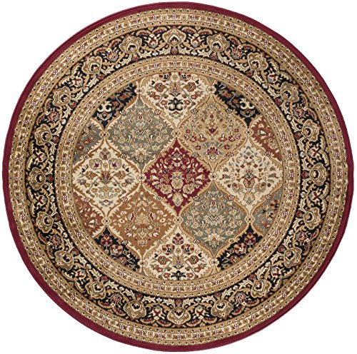 Princeton Traditional Oriental Red Round Area Rug, 8' Round
