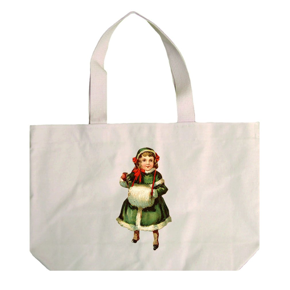 Natural Canvas Beach Tote Girl In Green Coat Vintage Look #1 By Style In Print