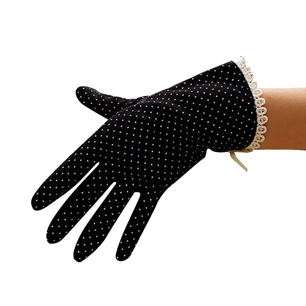 Lmeno 1 Paar Sommer Damen Driving-Handschuhe Sonne UV-Schutz Lace Dots Fäustlinge im Freien Baumwolle (Beige/Schwarz/Grau/Rosa)