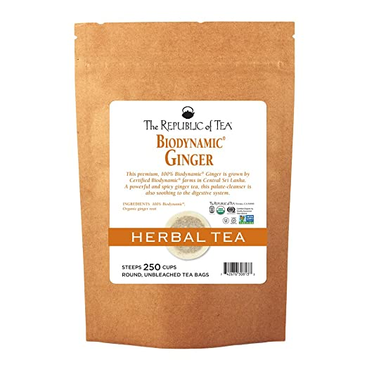 The Republic Of Tea Biodynamic Ginger Herbal Tea, 250 Tea Bag Bulk