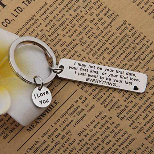 FEELMEM I May Not Be Your First Date Keychain Couples Love Lettering Keyring Valentines Day Birthday for Him or Her (Silver) by FEELMEM (Image #4)