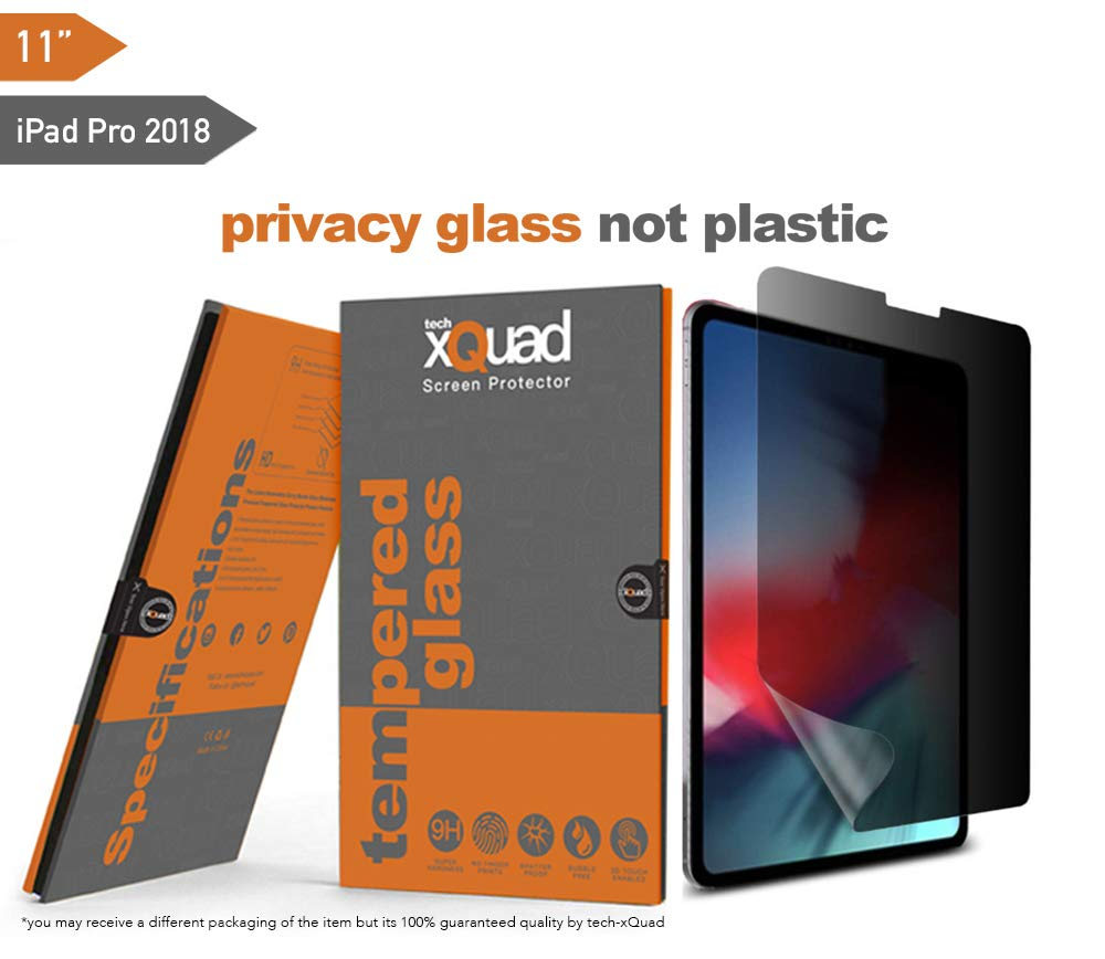 iPad Pro 2018 Privacy Tempered Glass Protector for Apple 11 inch iPad Pro 2018 Easy to Install Anti Spy Reduce Fingerprint [Compatible with Face ID and Apple Pencil] (iPad Pro 2018-11 Inch, Privacy)