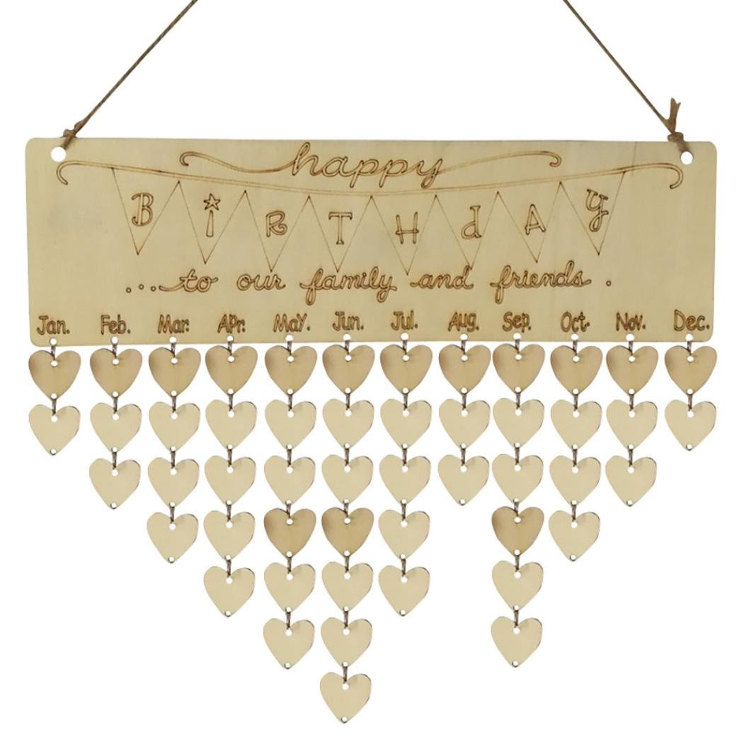 Bescita Wood Birthday Reminder Board Birch Ply Plaque Sign Family &Friends DIY Calendar (Multicolour B)