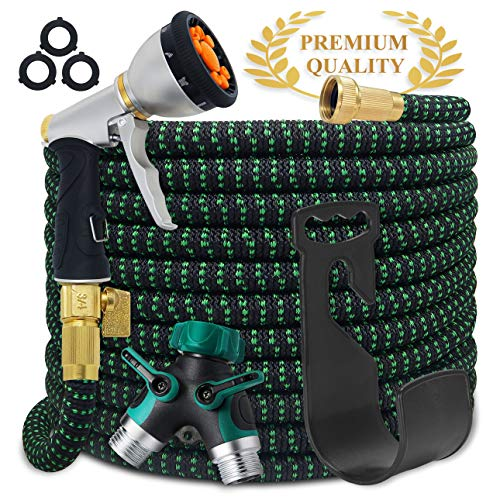 Aquila Expandable Hose Pro | 100 Feet | Upgraded 2019 | Garden Hose | 9-Pattern Zinc Nozzle | Superior Strength 3750D, 4-Layers Latex | 2-Way Pocket Splitter | Extra-Strong Brass Fittings