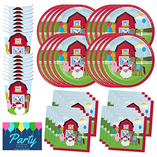 Barnyard Farm Animals Birthday Party Supplies Set Plates Cups Napkins Tableware Kit for 16 Guests by PCBS