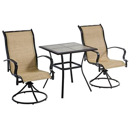 Miraculous 3 Piece Tan Waterproof Breathable All Weather Sling Fabric Durable Powder Coated Steel Frame Wesley Creek Bistro Set With Swivel Chairs Lamtechconsult Wood Chair Design Ideas Lamtechconsultcom