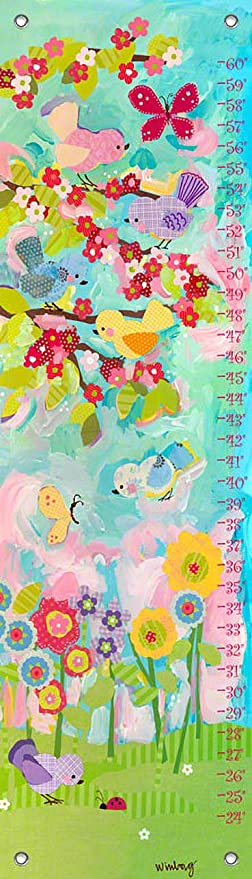 Oopsy Daisy Cherry Blossom Birdies by Winborg Sisters Growth Charts 12 by 42-Inch