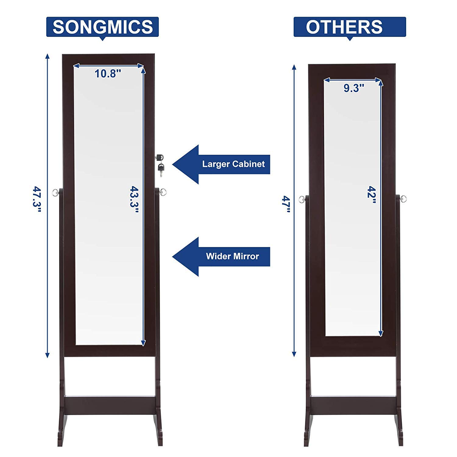 SONGMICS 6 LEDs Mirror Jewelry Cabinet Lockable Standing Mirrored Jewelry Armoire Organizer 2 Drawers Brown UJJC94K by SONGMICS (Image #6)