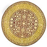Safavieh Silk Roads SKR213G Maroon and Ivory Handmade New Zealand Wool Round Area Rug, 6-Feet in Diameter Picture