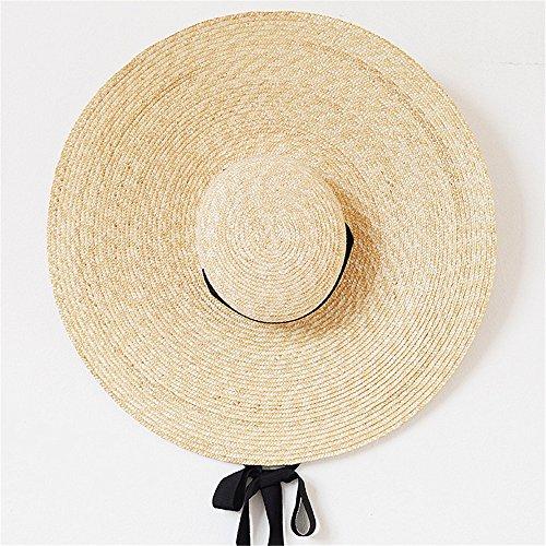 Playa Del Temporada Y Largo Foldabl La Lo Sombrero A Natural Verano De Solar En Playa Primavera Viaje Paja Aszhdfihas Protección qpvEt