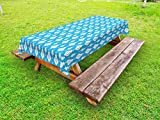 Lunarable Ikat Outdoor Tablecloth, Indigenous Ikat Style Aztec Geometric Motifs Antique Asian Ethnic Vintage Artistic, Decorative Washable Picnic Table Cloth, 58 X 120 inches, Blue White