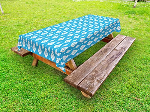Lunarable Ikat Outdoor Tablecloth, Indigenous Ikat Style Aztec Geometric Motifs Antique Asian Ethnic Vintage Artistic, Decorative Washable Picnic Table Cloth, 58 X 120 inches, Blue White from Lunarable