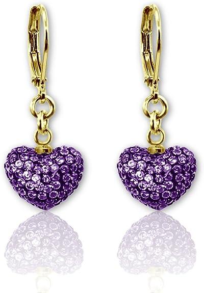 Heart Shaped Hoop Earrings For Girls With Comfortable Leverback Earrings 18k Gold Plated Crystal Earrings Dangling Heart Earrings For Women