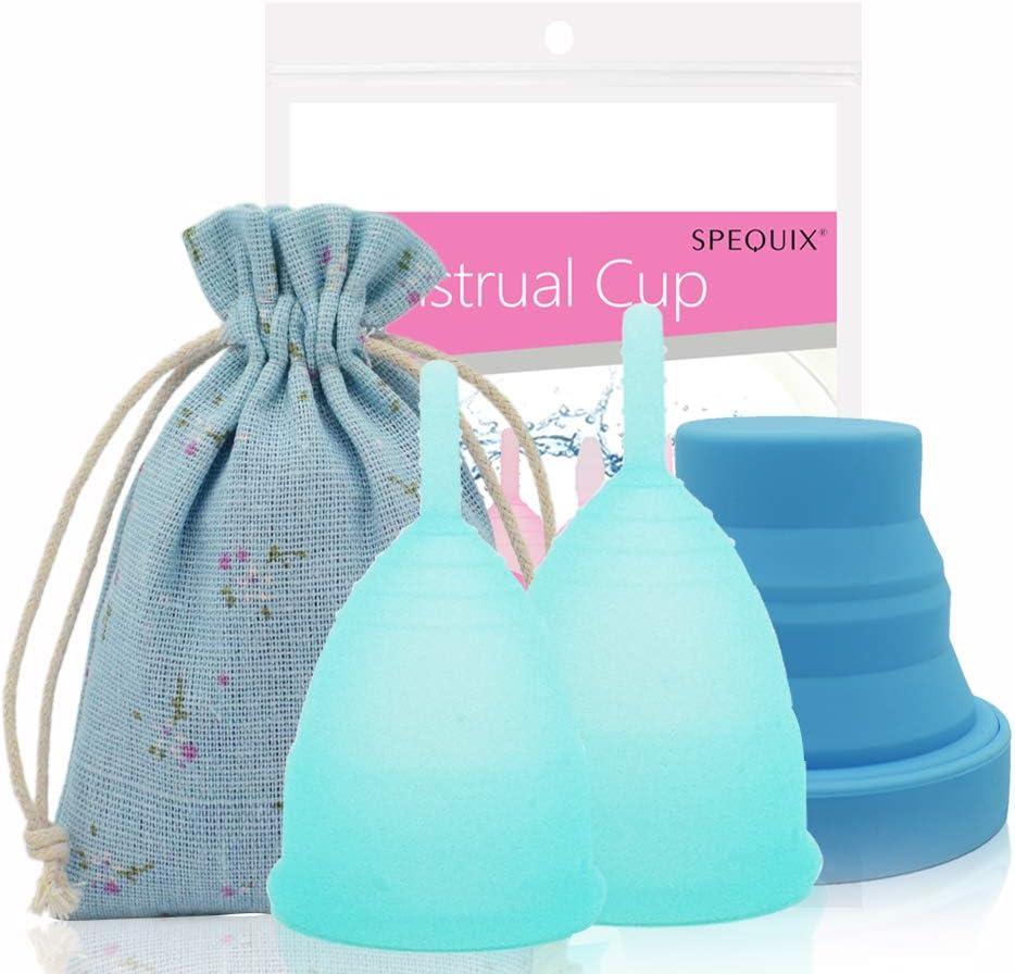 SPEQUIX - Juego de 2 copas menstruales azules y 1 taza de esterilización para mujer con esterilización