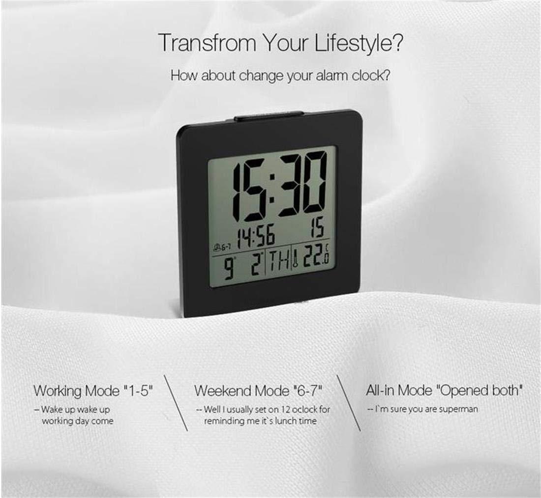 V.JUST Inicio Interior Digital Retroiluminado LCD Termómetro Escritorio Reloj Alarma Negro Digital Azul Luz de Fondo Escritorio Reloj Alarma Comodidad: ...