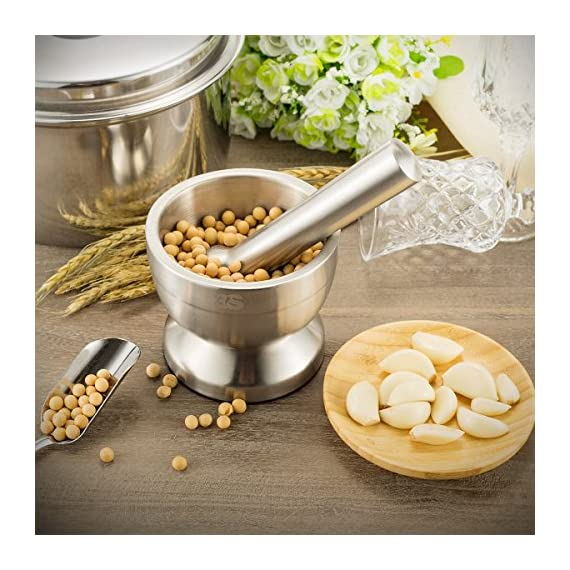3S Stainless Steel Spice Grinder/Mortar and Pestle Set 3 BEST MANUAL SPICE GRINDER TOOLS-mortar and pestle with heavy duty stainless steel safe and more wearable,Continuous use of up to 10 years. EASY TO CLEAN-no matter grinding,pounding,crushing or something powerful it always standing there without any damage,it easy to wash it with soft towel or fabric. MULTI FUNCTION-There are lots of kitchen and household uses, including turning prescription tablets into a powder, crushing fresh herbs, grinding spices, etc.