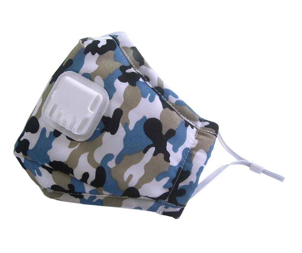 PM2.5 Masque de poussière unisexe pour adultes Anti-buée Anti-brouillard Anti-buée Anti-poussière Masque de bouche Masque anti-bactérien Filtre à charbon actif Masse à oreille masque masque facial Masse à bouche avec exhale Valve (bleu) erioctry