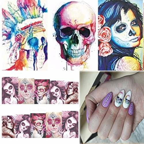 24 Sets Halloween Skull Bone Nail Art Sticker Ghost Devil Phantom Goblin Water Transfer Nails Wrap Paint Tattoos Stamp Plates Templates Tools Tips Kits Smart Popular Stick Tool Vinyls Decals Kit