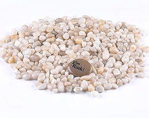 "ROCKIMPACT 5.5 lb Semi Transparent White Pebbles for Plant Pot, Aquarium Decor, Professional Polished Rocks and Stones Bulk for Kids Crafts, Terrarium, 3/8"" - 3/4"""