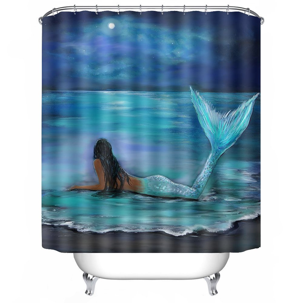 POPS AMERICA bath curtains 72'' X 72'' Mermaid, Moon And Stars Painting More Deluxe Waterproof Bath Curtain Shower Curtain Liner Waterproof Polyester Fabric Bathroom Decor Set With 12 Hooks by POPS AMERICA