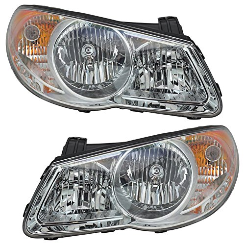 Headlight Lamp Driver Left LH & Passenger Right RH Pair Set Fits 07-10 Elantra ()