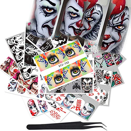 WOKOTO 25 Sheets Halloween Waterslide Nail Decals With 1Pcs Tweezers Grimace Skull Eye Nail Art Wrap Stickers Manicure ()