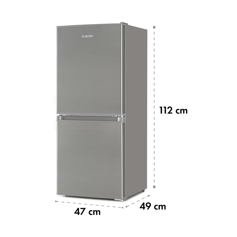 Klarstein Big Daddy Cool 100 /• Nevera combi /• Nevera de 73 litros /• Congelador de 33 litros /• 106 litros en total /• Regulador de temperaturas /• 2 estantes /• Aislado /• 47 x 112 x 49 cm /• Plateado