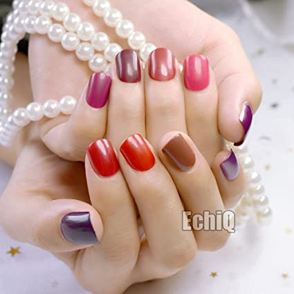 EchiQ - 240 uñas postizas con puntas cortas y cubiertas completas, uñas artificiales falsas, puro color caramelo, manicura, puntas para uñas, color marrón, ...