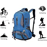 Mountaineering Hiking Backpack Trekking Bag Outdoor Sports Daypack 40L Waterproof for Camping Fishing Backpacking Climbing Hunting Traveling Blue