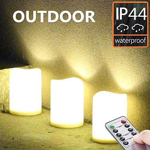 Set of 3 Outdoor IP44 Warm White LED Rainproof Waterproof Flameless Battery LED Pillar Candles with Remote and Timer, Plastic, Won t Melt, Weather Resistant Design 3 x 4 , Timer 24hours