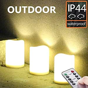 """Set of 3 Outdoor IP44 Warm White LED Rainproof Waterproof Flameless Battery LED Pillar Candles with Remote and Timer, Plastic, Won't Melt, Weather Resistant Design 3 x 4"""", Timer 24hours"""