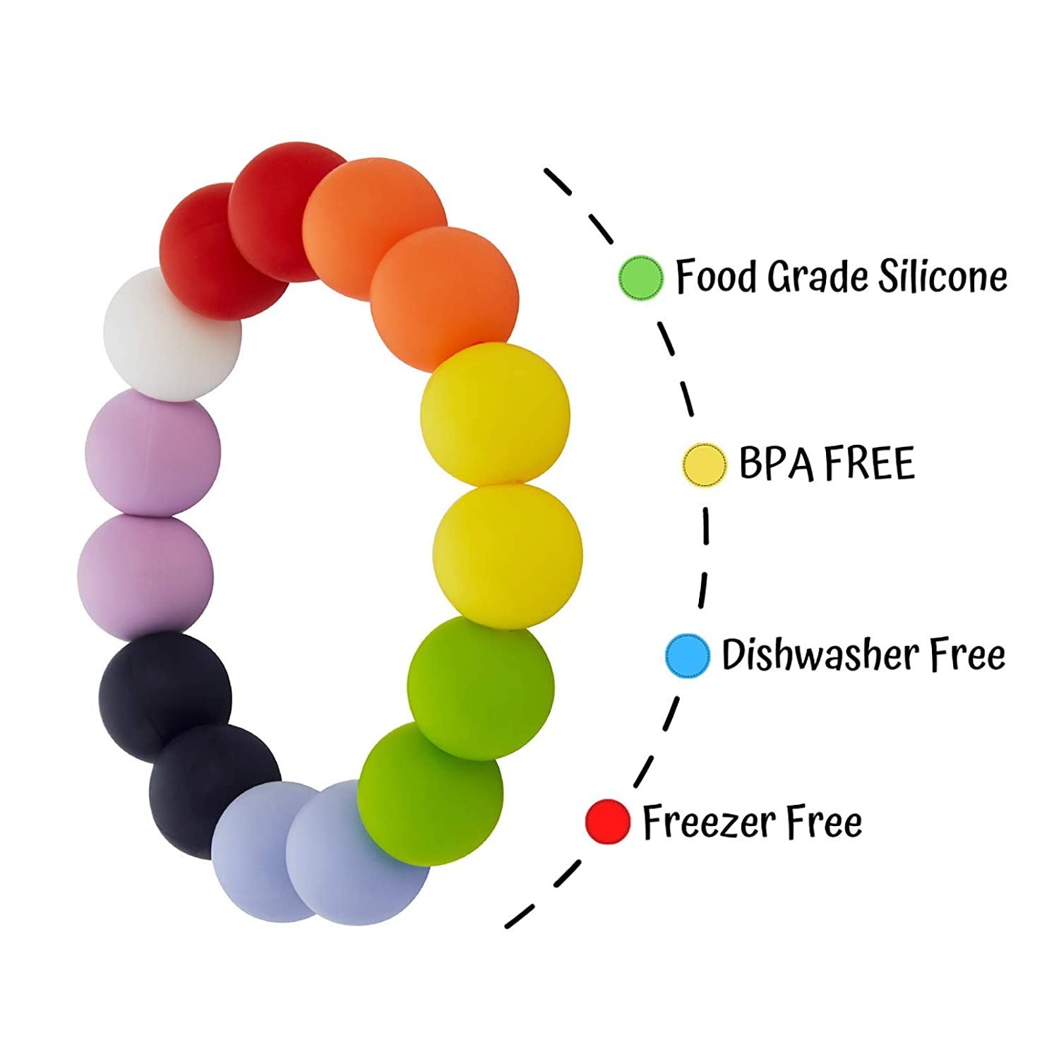 Baby Nursing or Special Needs ADHD Chewable Silicone Beads Bracelet for Autistic Chewers Nearbyme Sensory Oral Motor Aids Chewable Bracelet for Baby Kids Boys and Girls