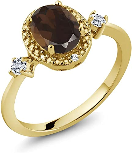Gem Stone King 1.83 Ct Smoky Quartz Black Diamond 18K Yellow Gold Plated Silver Mens Ring