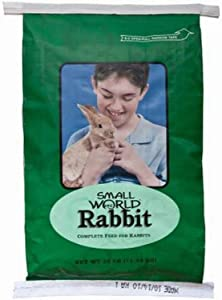 Small World Rabbit Feed for All Rabbits | Everyday Feed High in Dietary Fiber and Provides Complete Nutrition | Firm and Durable Rabbit Pellets | 25lbs