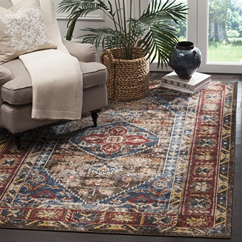 Safavieh Bijar Collection BIJ621C Traditional Oriental Vintage Brown and Royal Blue Area Rug 3 x 5