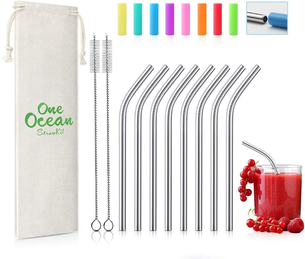 4 Pack Stainless Steel FDA Approved Reusable Drinking Straws Brush 8 inch