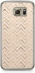Samsung Galaxy S6 Transparent Edge Phone Case Gold Chevron Texture Phone Case Chevron Samsung S6 Cover with Transparent Frame