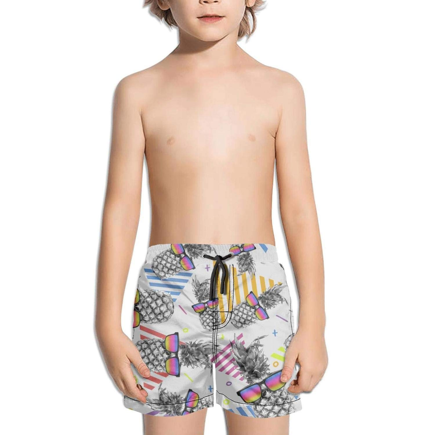 Ouxioaz Boys' Swim Trunk Awesome Style Pineapple with Vintage Eye Glasses Beach Board Shorts