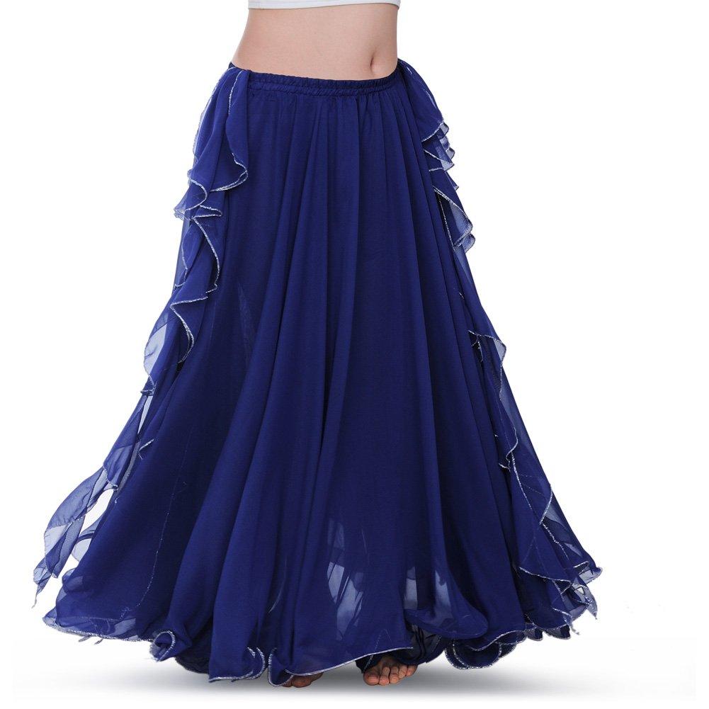 ROYAL SMEELA Chiffon Fairy Belly Dance Skirt for Women Belly Dancing Costume Two Side Split Tribal Maxi Full Skirts Voile Dark Blue by ROYAL SMEELA