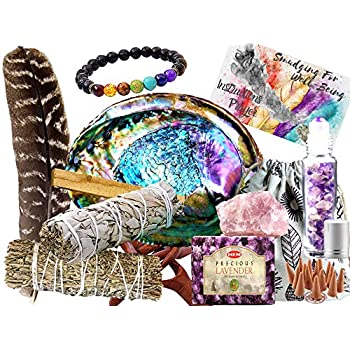 Sage Smudge Kit: ULTIMATE 12 Piece Spiritual Gifts Variety Smudging Kit: XL Abalone Shell, White Sage & Blue Sage Smudge Sticks, Palo Santo, Healing Crystals Amethyst Roller,Chakra Bracelet,More!