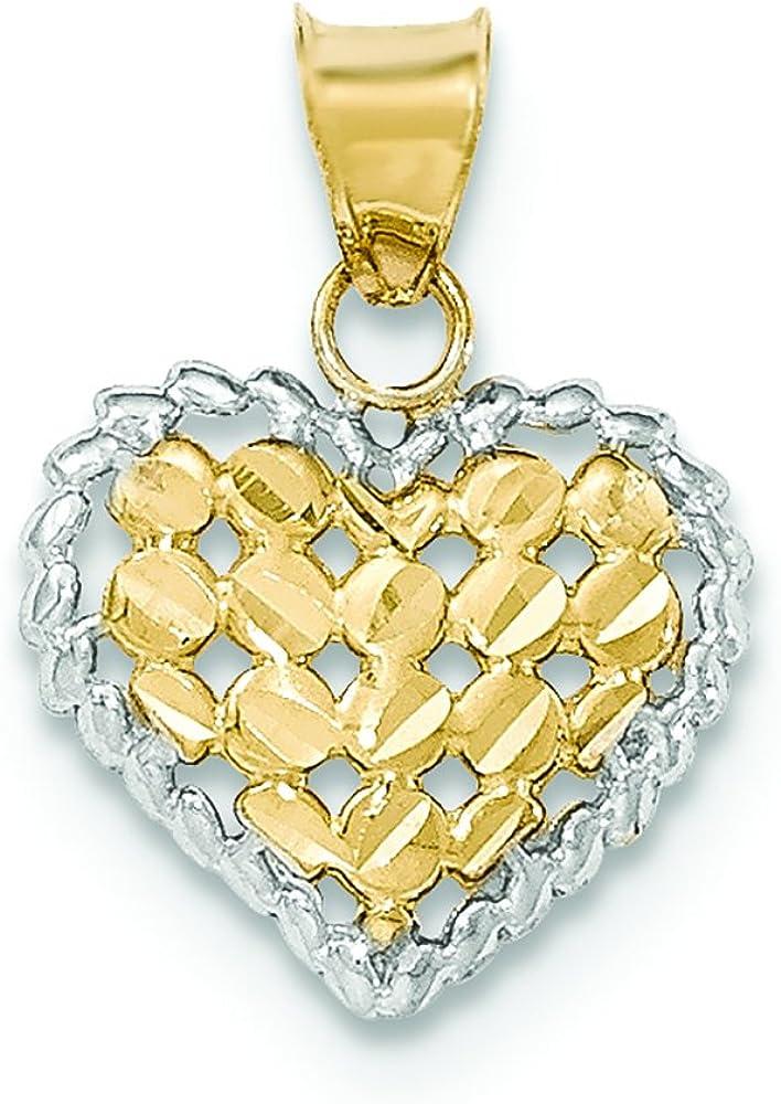 14K Two-Tone Gold Diamond-Cut Open Filigree Heart Charm Pendant