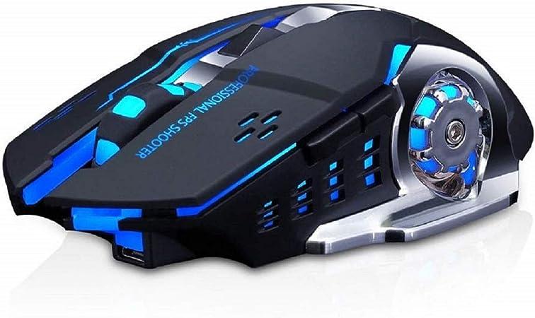 Lasuki Ratón Gaming Inalámbrico Ratón Recargable con 6 Botones y 3Niveles de dpi Ajustables 7 Colores RGB LED y retroiluminación Parpadeante para ...