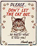 Hauser-Cat Out Tin Sign 12 x 15in