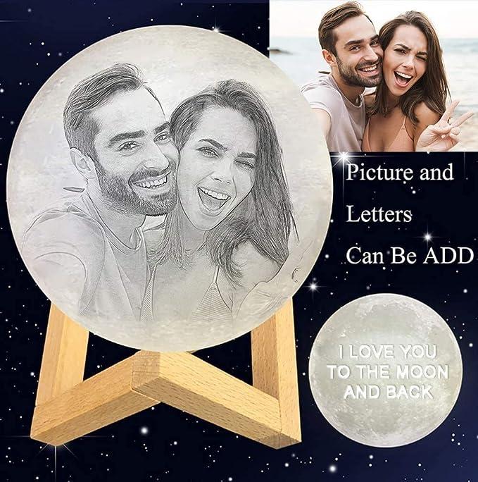 N/S Mond Lampe Nachtlicht, personalisierbar Foto, Text, Muster auf dem Mond Licht, 3D Druck ...