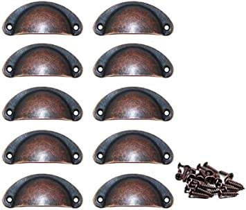 10pcs Antique Cupboard Cabinet Knob Cup Drawer Furniture Door Shell Pull Handles